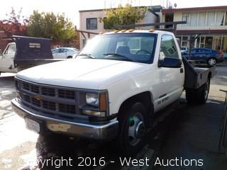 1996 Chevrolet Cheyenne 3500 Flatbed Pickup Truck with Lincoln Electric Arc Welder