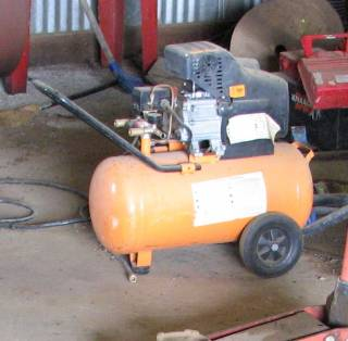 Portable Air Compressor with Orange Tank