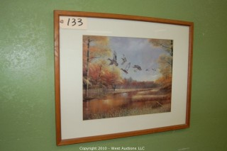 Framed Picture - Ducks Flying - Fall Colors