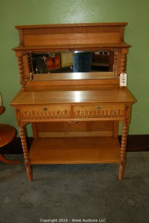 French Oak Sideboard with Beveled Mirror