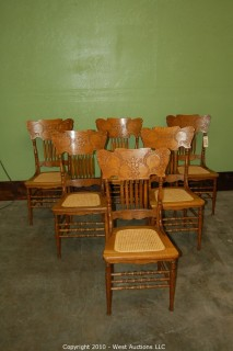 6 Press back Oak chairs