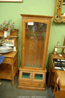 Gun Cabinet with Etched Ducks on Glass Door