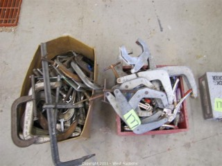 Crate and Box of Twist Clamps, C-Clamps and Grip-Clamps