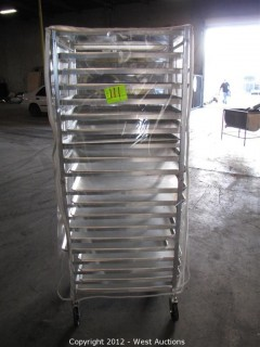 KelMax Aluminum Rolling Pan Rack with (19) Pans