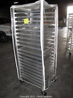 KelMax Aluminum Rolling Pan Rack with (17) Pans