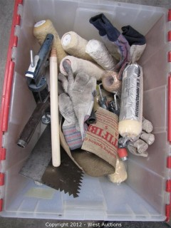 Paint Trays, Brushes, Gloves in Plastic Tote