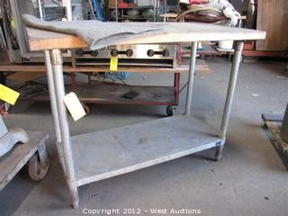Wood Top Metal Food Prep Table