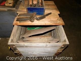Wooden Cart with Spool of Wire and Box of Hand Wrenches