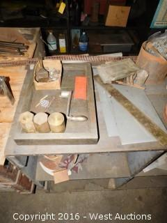 Wood Work Bench with Tools and Contents