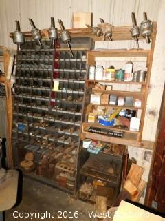 Shelf and Bit Organizer with Tapping Heads, Bits and Tooling