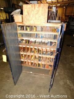 (200+) Drill Bits and Tips With Wooden Shelving Unit