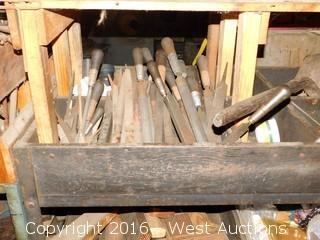 Contents of Wooden Shelving, Including Hand Files