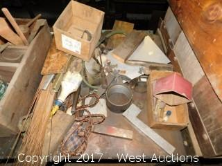 Metal Shelf Unit with Contents of Assorted Ties