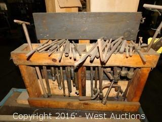 Wooden Tool Rack with Tap Wrenches and T-Handle Nut Wrenches