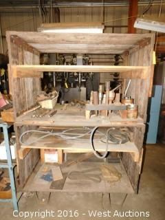 Wood and Steel Rack with Drill Bits, Hole Saws, Air Hose Metal Frame