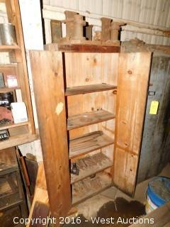 Wood Storage Cabinet with Drill Bits and Tools