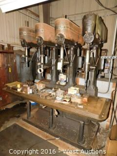 Footburt (4) Spindle Drill Press with Tooling  and Punches