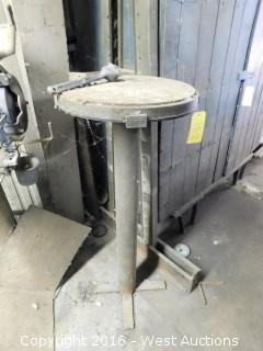 Round Metal Work Stand on Steel Pipe Base