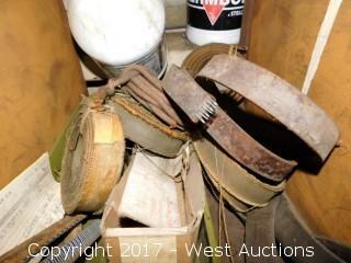 Wooden Shelf Organizer with Grinder Disc, Machine Belts, Wire and Sand Paper