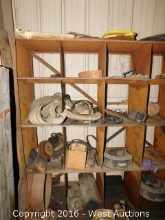 Wooden Shelf Organizer with Grinder Disc, Machine Belts, Wire and Sand Paper
