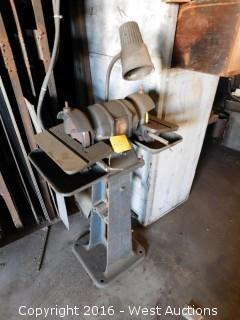 Bench Grinder on Pedestal with Light