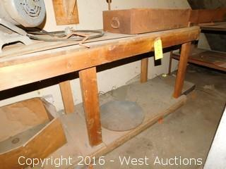Wooden Work Bench with Contents of Tools