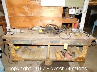 Wood Work Bench on Casters (bench only)