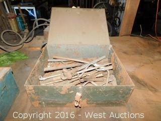 Box with Pipe Wrenches, Wrenches and Tongs