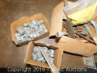 Boxes of Electrical Conduit Connectors and (2) Grinding Wheels