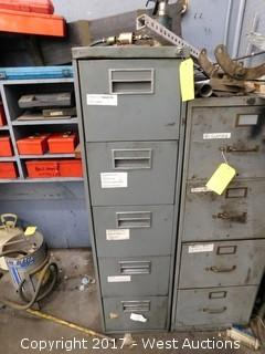(1) 5 Drawer File Cabinet with Mechanics Tools