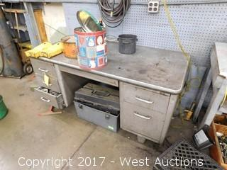 Metal Desk with Contents