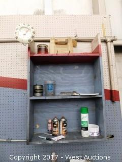 Work Bench with Contents and Overhead Shelving