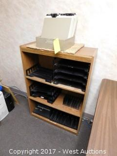 Wooden Book Shelf with Desk File Trays