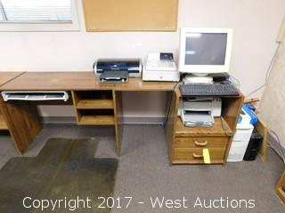 Desk with Computer and Office Equipment