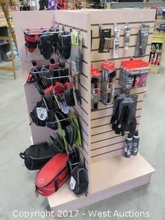 Retail Display with Bicycle Bags, Mudguards, Bar Tape, Tools