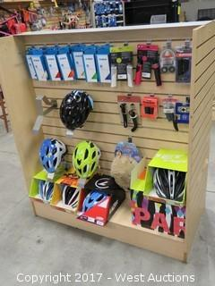 Retail Display with Bicycle Helmets, Bar Tape, Grips, Gloves, Socks, Cleats