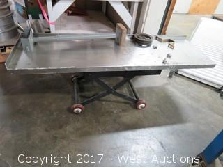 Stainless Steel Table Top on Rolling Sizzor Folding Cart