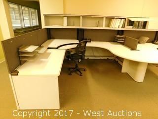 (2) Cubicle Units with U-Shaped Desks