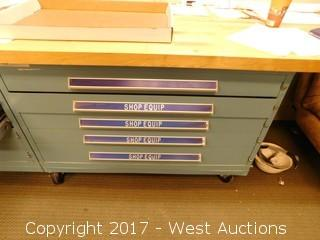 Flat File Drawer Cabinet with Wood Table Top on Casters