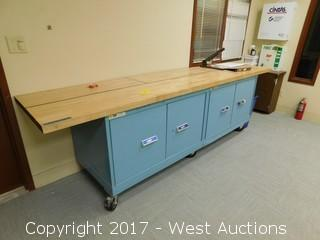 Wood Top Shop Bench with Storage on Casters