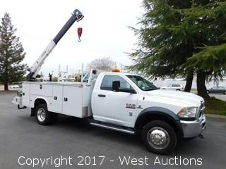2015 Dodge Ram 4500 Cummins Turbo Diesel 4x4 Utility Truck with Crane