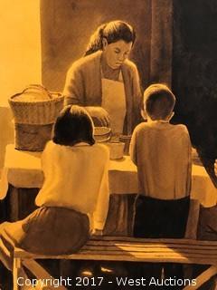 """""""Hora De Comer"""" Original Watercolor by Ruben Resendiz"""