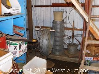 Bulk Lot; Gas Tanks, Hose, Ladder, Tools, Wire Fencing