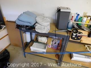 Mixed Lot: Rack, Cleaning Supplies, Paper Shredder
