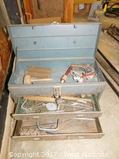 Vintage Toolbox Filled with Hand Tools