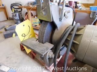 "Montgomery Ward 8134 Pedestal Mounted 7"" Shop Grinder"