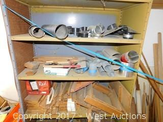 Bulk Lot of Wood Stock with Cabinet