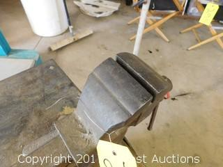 "Custom Built Steel Table with 3"" Shop Vise"