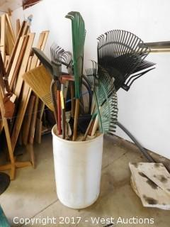 (12) Rakes, Brooms, Shovels with Barrell Organizer