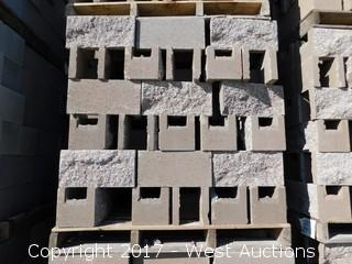 (1) Pallet of Masonry Block 8x8x16 OEBB Split Face 1 Side, Tan